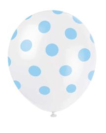 Ballonnen met stippen wit/babyblauw 6st.