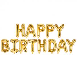 Ballonletters Happy Birthday gold (340x35cm)