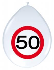 Ballonnen 8st. Verkeersbord 50