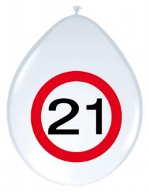 Ballonnen 8st. Verkeersbord 21