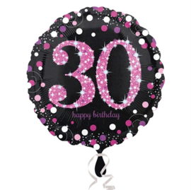Folieballon 30 Birthday sparkling celeb. pink