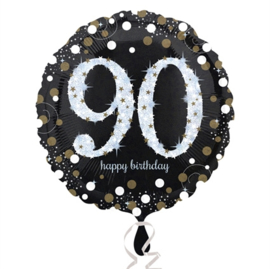 Folieballon 90 Birthday sparkling celeb. silver