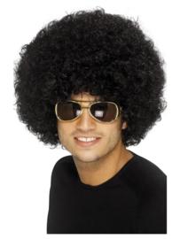 Pruik 70s Funky afro, zwart