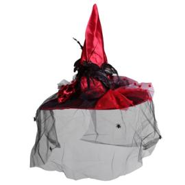 Heksenhoed satijn met kant rood