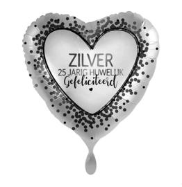 Folieballon 25 jarig huwelijk, zilver