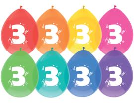 Ballonnen 8st. cijfer  3