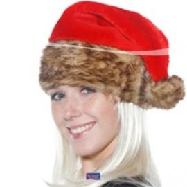 Kerstmuts luxe met bruine vacht