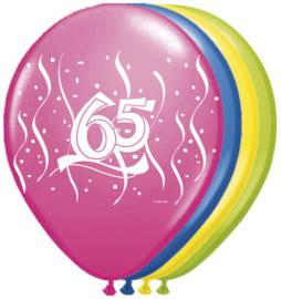 Ballonnen 8st. 65 jaar swirl HE 30cm