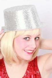 Hoge hoed plastic glitter zilver