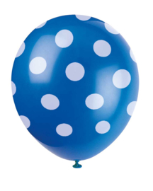 Ballonnen met stippen blauw/wit 6st.