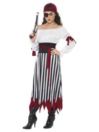 Jurk piraat zwart/wit mt. L (incl. div acc.)