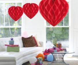 Honeycomb hart rood 30cm