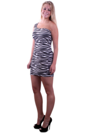 Jurk zebraprint mt. L-XL