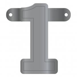 Banner Letter 1 Metallic Silver
