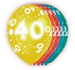 Ballonnen 5st. 40 jaar HE 30cm