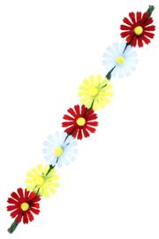 Hoofdbandje Ibiza 7 bloemen rood/wit/geel