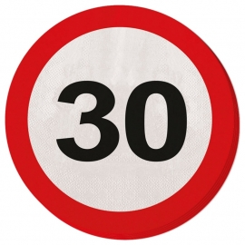 Servetten Verkeersbord 30