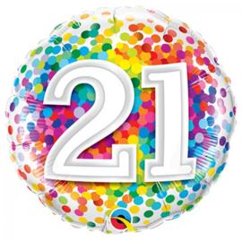 Folieballon confetti rainbow 21