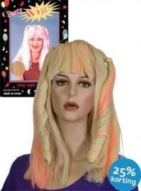 Pruik Dolly blond-oranje