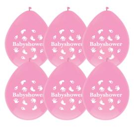 Ballonnen babyshower roze 6st.