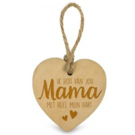 Houten hartje - Mama
