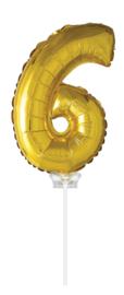 Folieballon 40cm goud 6 (met stokje)