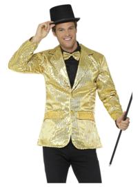 Colbert pailletten goud mt. XL