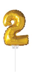 Folieballon 40cm goud 2 (met stokje)