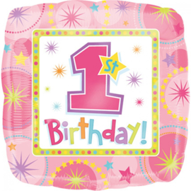 Folieballon One Birthday Girl