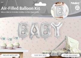 Ballonnenkit Baby zilver (luchtgevuld) 36cm