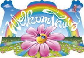 Deurbord Welkom Thuis regenboog