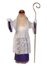 Albe/onderjurk luxe met rok wit-paars