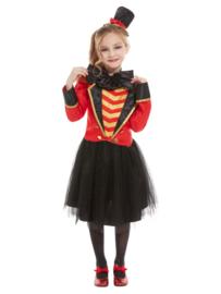 Circusdirecteur jurk rood mt. S (115-128 cm)