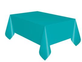 Tafelkleed plastic teal 137x274cm