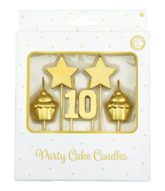 Party cake candles gold - 10 jaar
