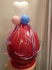 Gender reveal ballon met hartje, incl. confetti