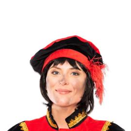 Baret Piet fluweel met veer rood/zwart