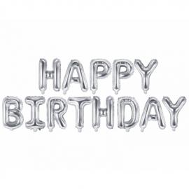 Ballonletters Happy Birthday silver (340x35cm)