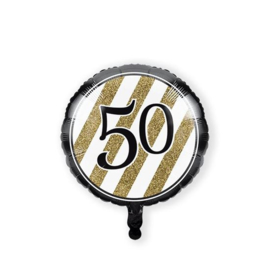 Folieballon   50 goud/zwart/wit
