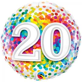 Folieballon confetti rainbow 20