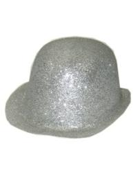 Bolhoed plastic glitter zilver