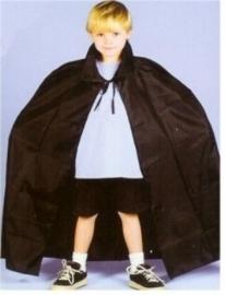 """Cape satijn met kraag zwart kinderen 36"""""""