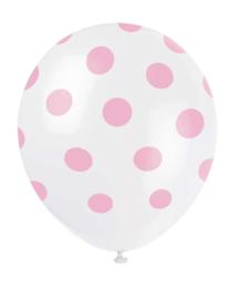 Ballonnen met stippen wit/babyroze 6st.