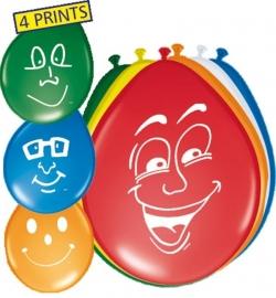 Ballonnen 8st. happy (gezicht)