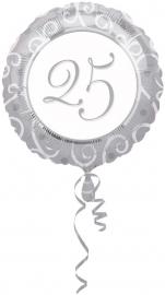 Folieballon   25 anniversary zilver