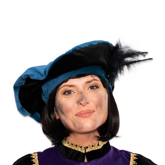 Baret Piet fluweel met veer blauw/zwart
