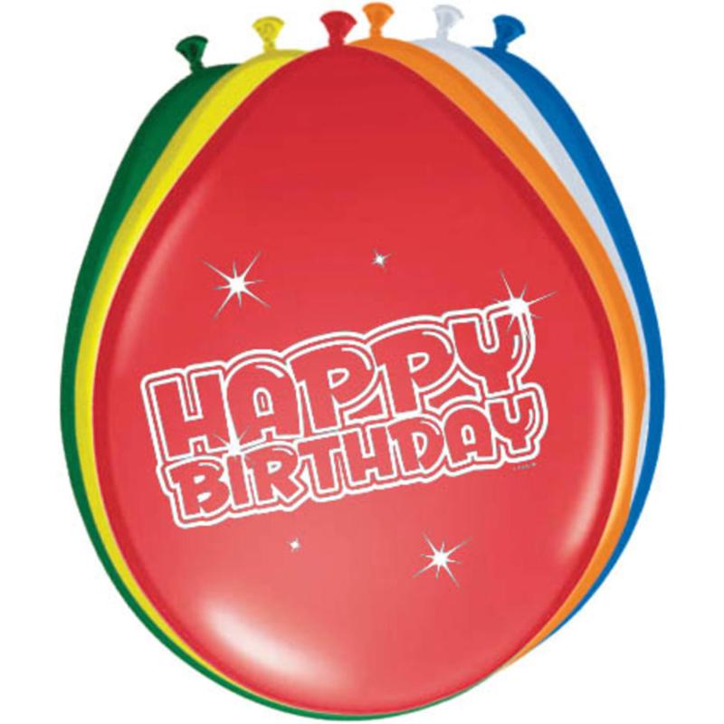 Ballonnen 6st. Happy Birthday