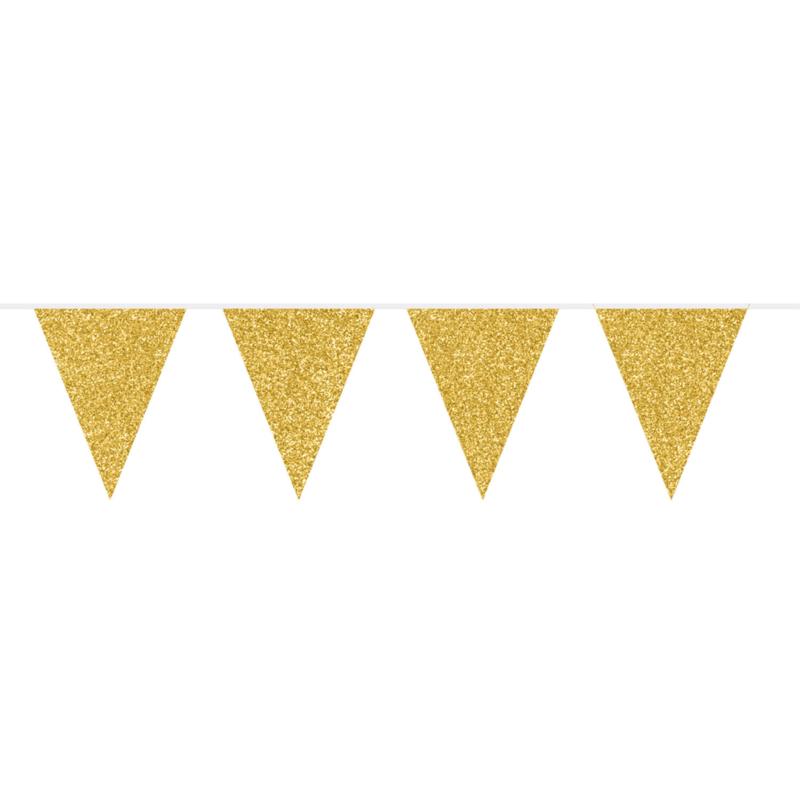 Vlaggenlijn glitter goud 6m