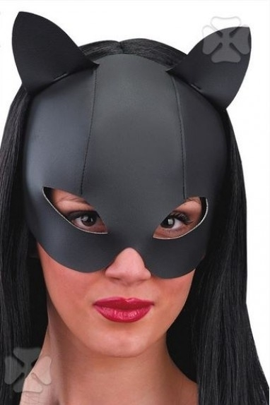 Domino black cat fake leather