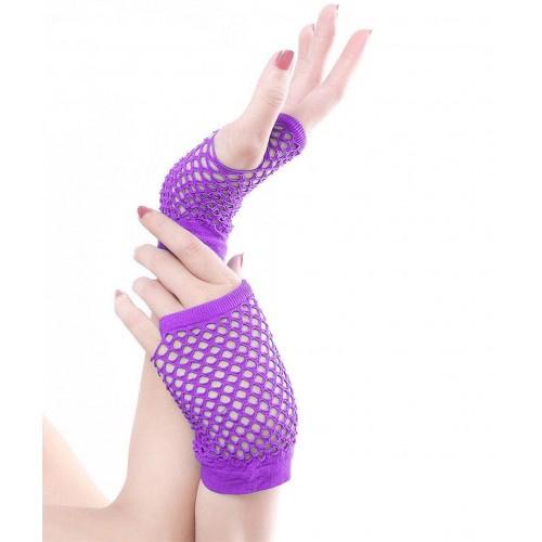 Net handschoenen kort vingerloos paars